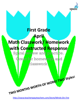1st grade April Math class/homework with Constructed Response