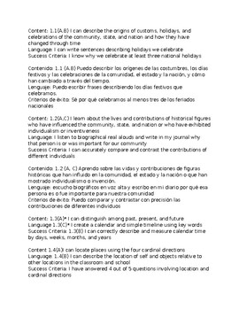1st grade-Bilingual Social Studies Content&Language Objectives aligned to TEKS