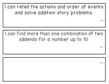1st grade CCSS I can statements