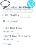 1st grade CCSS Opinion Writing Poster and Writing Pages