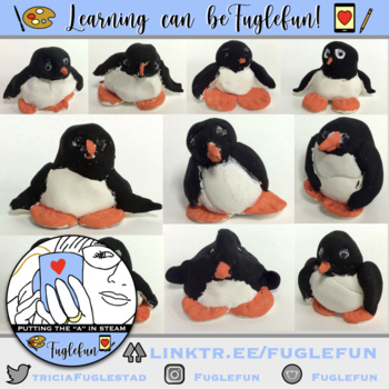 1st grade Clay Penguin Sculpture Step by Step Lesson with Riddles