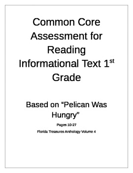 "1st grade Common Core Assessment for ""Pelican Was Hungry"" from Florida Treasures"
