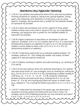1st grade Common Core Math Standards (FREE!)