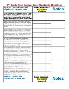 1st grade Common Core Math checklist/Assessment Tracker