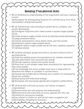 1st grade Common Core Reading Standards (FREE!)