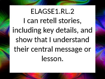 1st grade ELA I Can Statements for GSE in Black and Neon swirl.