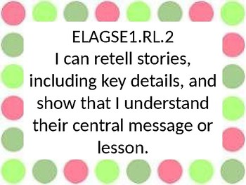 1st grade ELA I Can Statements for GSE in Pink and Green Dot border .