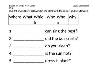 1st grade ELA Tricky Words