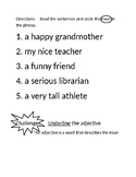 1st grade ELA noun worksheet