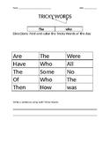 1st grade ELA week 3 Tricky Words Worksheet
