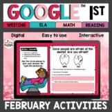1st grade February Digital Activities for Google Classroom