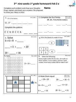 1st grade February Math class/homework with parent guides & Constructed Response