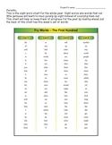 1st grade Fry Word & Spelling Word Homework Sheet