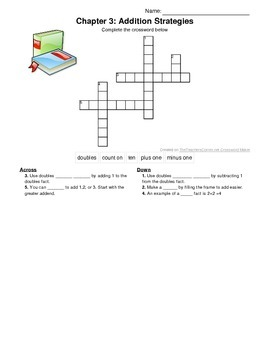 1st grade Go Math! Chapter 3 Vocabulary Crossword Puzzle