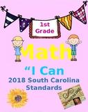 "1st grade ""I Can Statements"" 2018 SC Standards - Math"