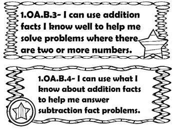 1st grade I can statements Math