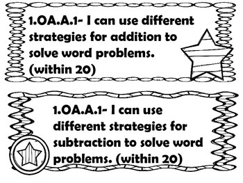 1st grade I can statements Math