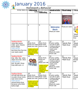1st grade-Monthly Homework Calendar 2015-2016 - Journeys spelling words