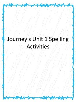 1st grade Journey's Unit 1 word work
