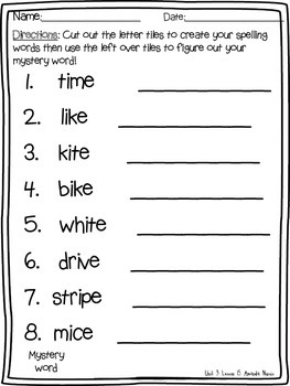 1st grade Journeys spelling word practice lessons 11-15 Mystery Word