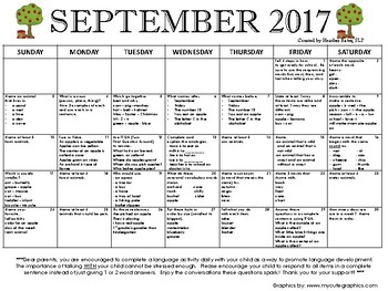 1st grade Language Calendar September 2017