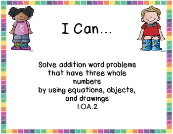 """1st grade Math Common Core """"I CAN"""" posters and lesson plan template"""