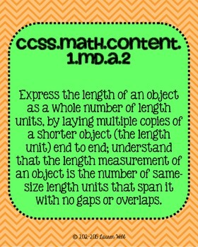 1st grade Math Common Core Standards Posters Measurement and Data