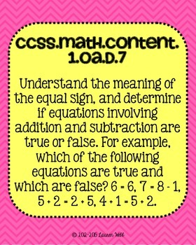 1st grade Math Common Core Standards Posters Operations and Algebraic Thinking