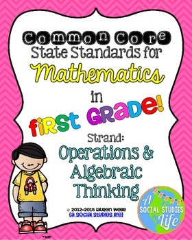 1st grade Math Common Core Standards Posters Operations an
