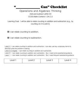 1st grade Math common core rubrics