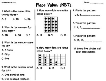 Place Value Tests 1st Grade