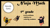1st grade NINJA MATH word problems, ordering, making 10