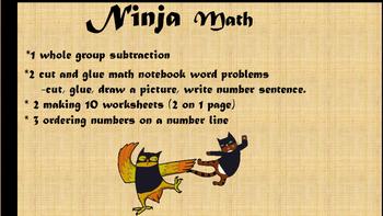 1st grade NINJA MATH word problems, ordering, making 10