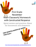 1st grade November Math Class & Homework with Constructed