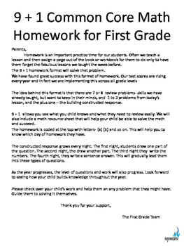 1st grade October Math class/homework with parent guides & Constructed Response