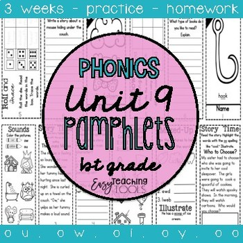 1st grade Phonics Pamphlets aligned with Benchmark Unit 9 (ou, ow, oi, oy, oo)
