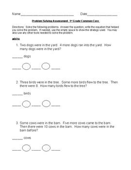 1st grade Problem Solving Assessment