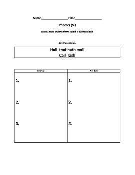 1st grade Reading Street Unit 2 week 2 Word sort
