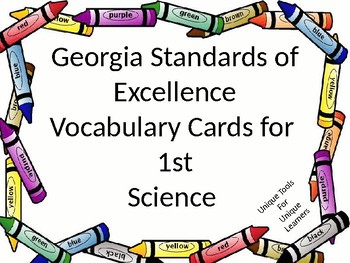 1st grade Science Vocabulary for GSE with a crayon border