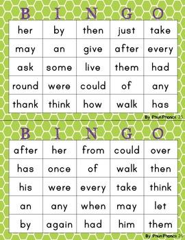 1st grade Sight Word Bingo (half page)