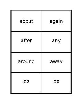 1st grade Sight Words Flash Cards (80words)