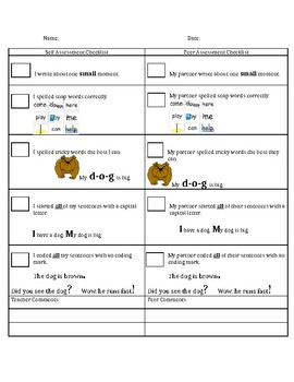 1st grade Small Moment Writing Self and Peer Assessment
