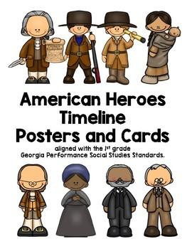 1st grade Social Studies American Heroes timeline cards
