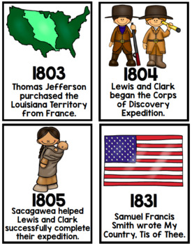 1st grade Social Studies American Heroes timeline posters and cards