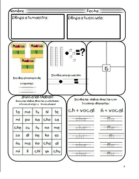 1st grade Spanish Daily Workbook- Quarter 2