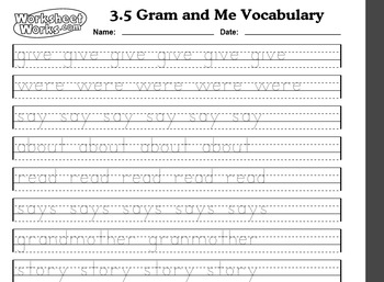 1st grade Treasuers Reading Series Unit 3.5 Gram and Me Handwriting Sheet
