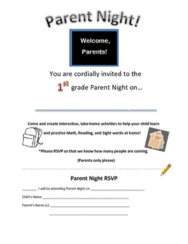 1st grade WINTER/ JANUARY-INTERACTIVE PARENT NIGHT LETTER/ INVITATION