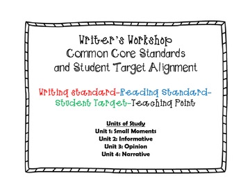 1st grade Writer's Workshop CCS, Student Target, & Teaching Point, Units 1-4