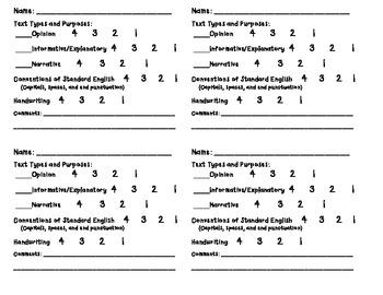 1st grade Writing Grade card - common core aligned