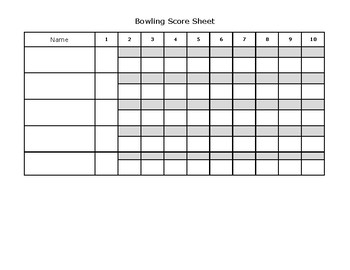 photo relating to Printable Bowling Score Sheet called Starter Bowling Rating Sheet as a result of Alan Arnett Lecturers Pay back